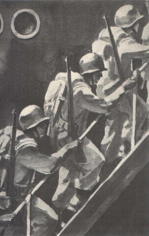 Б. Пророков. Американский экспорт. Из серии «Вот она, Америка». Бумага, тушь. 1948—1949.