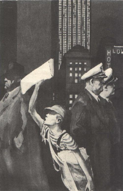 Б. Пророков. Ему некогда учиться читать. Из серии «Вот она, Америка». Бумага, тушь. 1948—1949.