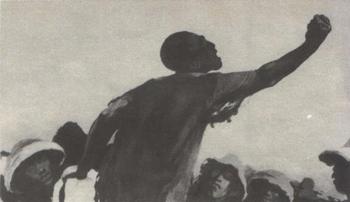 Б. Пророков. Митинг. Из серии «Рикши». Автолитография. 1947.