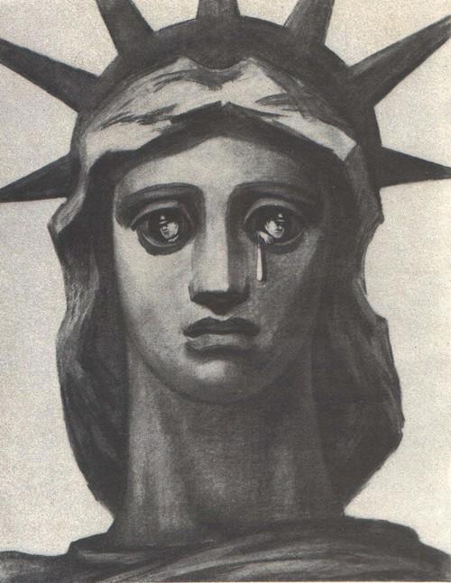 Б. Пророков. Свобода Америки. Из серии «Маяковский об Америке». Бумага, смешанная техника. 1951.
