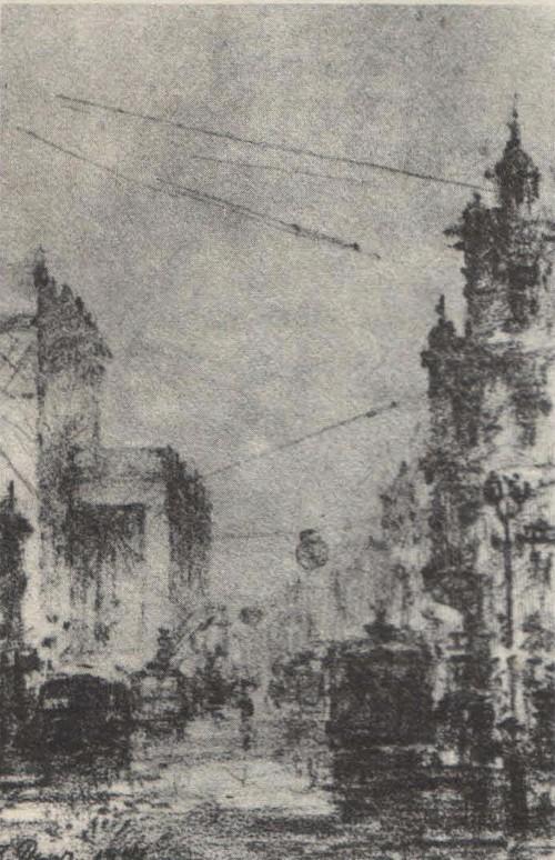 Б. Рыбченков.у зала Чайковского. Карандаш. 1941.