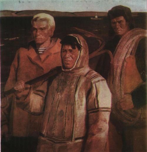 В. Башмаков. Енисейские рыбаки. Масло. 1974.
