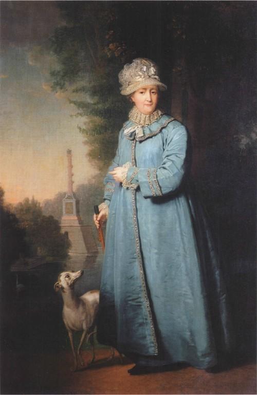 Екатерина II на прогулке в Царскосельском парке (с Чесменской колонной на фоне). 1794