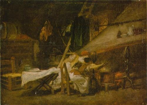 Жан Оноре Фрагонар У очага. Холст, масло. 0,25 Х 0,35