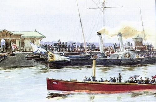 Императорские катера в Петергофской гавани. 1890