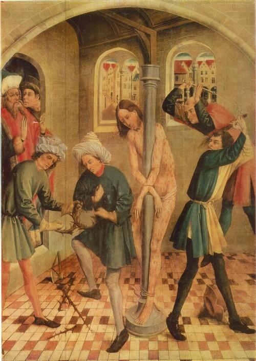 Иоганн Кербеке Бичевание Христа 1491 - 1457 Дерево, темпера. 0,93 х 0,65