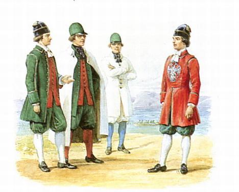 Команда придворных гребцов 1716, 1723, 1730