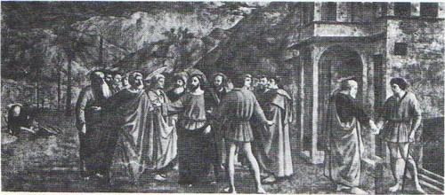 Мазаччо. Чудо со статиром. Фреска капеллы Бранкаччи церкви Мария дель Кармине. Флоренция. 1427.
