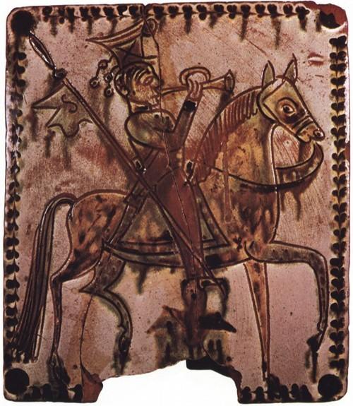Мастер из Косова. Трубач на коне. Изразец. 22,5x20. Собрание. Н. Эйсмонта.