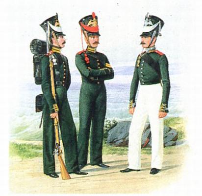 Матрос-канонир Артиллерейской команды и унтиер офицеры Гвардейской ластовой роты. 1826-1828