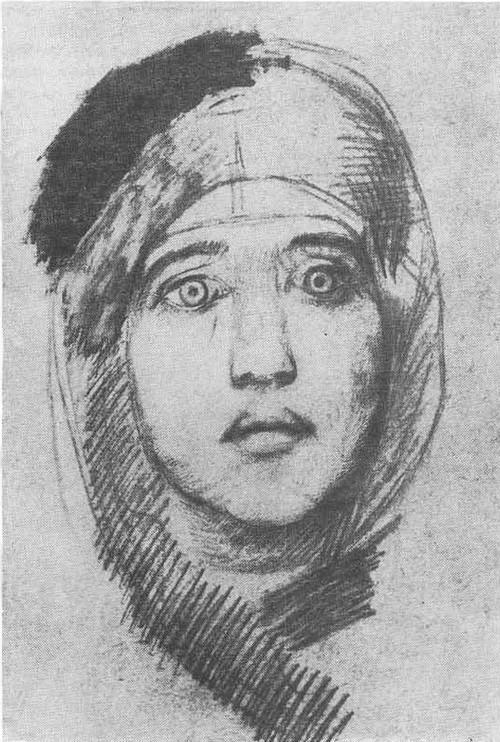 М. Врубель. Женская голова (Э. JI. Прахова). Карандаш, гуашь. 1882—1885.