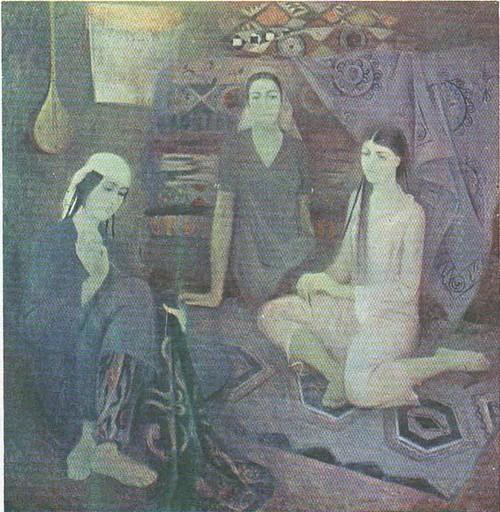 М. Яхьяева. Вышивальщицы. Из серии «Женщины Таджикистана». Масло. 1979.