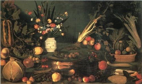 Натюрморт с цветами и фруктами 105 х 184 см