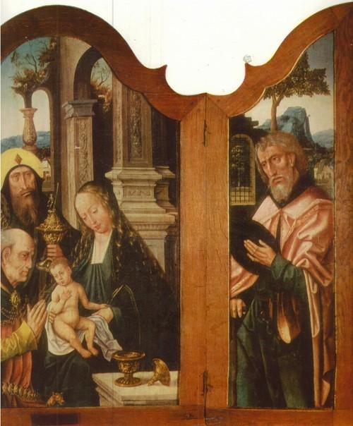 Неизвестный Антверпенский мастер Картина Поклонение волхвов. Первая половина XVI века. Триптих Дерево, масло. Боковые створки 1,07 X 0,31, центральная часть 1,05 X 0,725