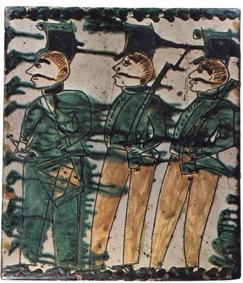 Неизвестный мастер. Солдаты с барабанщиком. Композиция на двух изразцах. 23x20; 23x20. (Ворохта, xaia В. Мочерняк). Собрание Д. Гобермана.