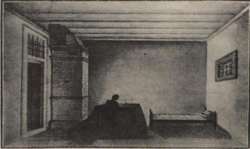 Н. Бестужев. Камера неизвестного декабриста в Петровской тюрьме. Акварель. 1831—1839.