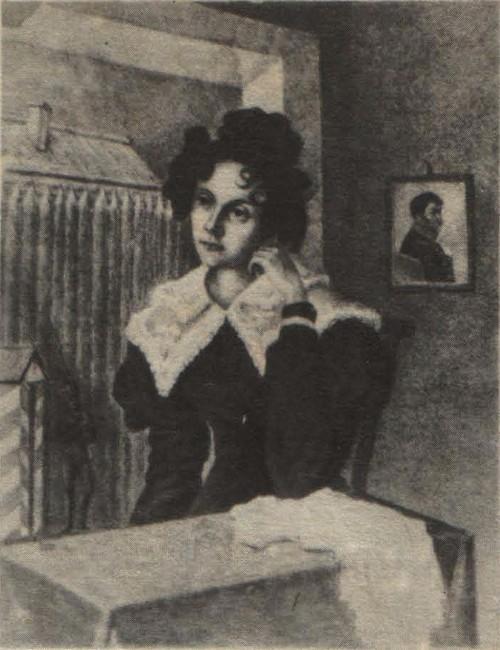 Н. Бестужев. М. Н. Волконская на фоне тына Читинского острога. Акварель. 1828.
