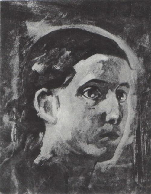 Н. Ге. Голова апостола Иоанна. Этюд для картины «Тайная вечеря ». Масло. 1862