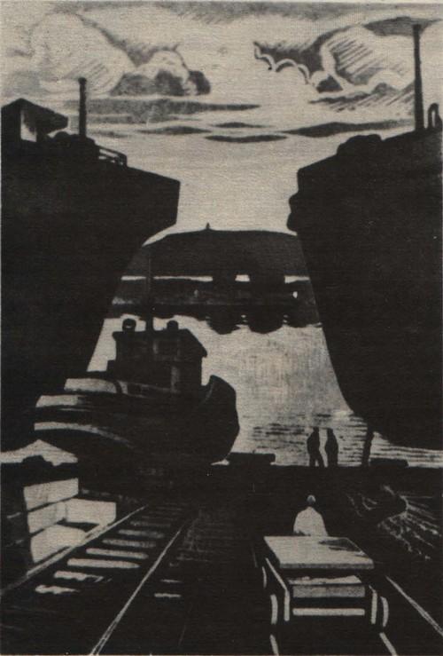 Н. Сальников. Вечер. Из серии «Речники Енисея». Цв. линогравюра. 1973.