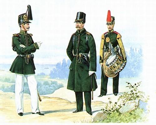 Обер офицеры в парадной и походной форме. Барабанщик в парадной строевой форме. 1855