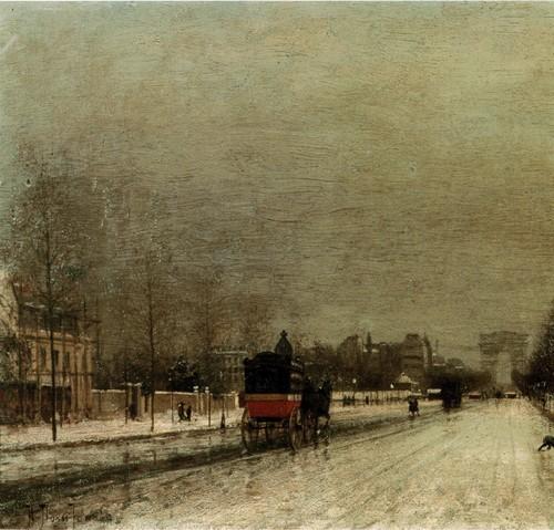 Париж . Вид на авеню Фош с Триумфальной аркой вдали . 1878