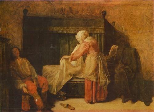 Питер де Хох Картина Утро молодого человека. 1629—1685. Дерево, масло. 0,40 х 0,53