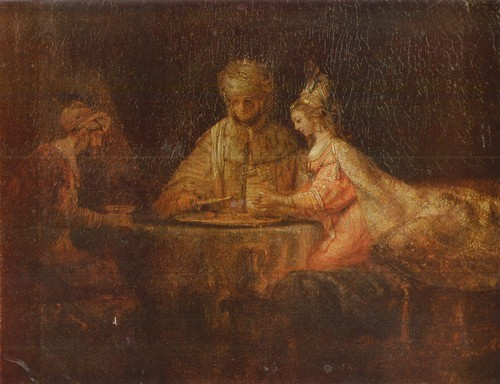 Рембрандт Харменс Ван Рейн Артаксеркс Аман и Эсфирь. 1660. Холст, масло 0,73 х 0,94