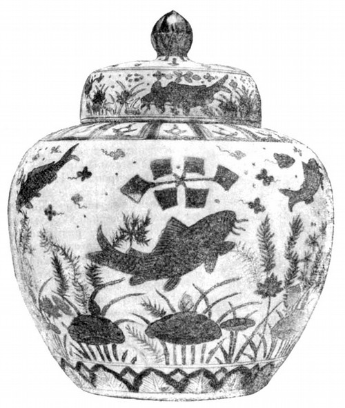 Сосуд с крышкой, с орнаментом у-уай («пятицветной» глазурью). 1522—1566 гг.