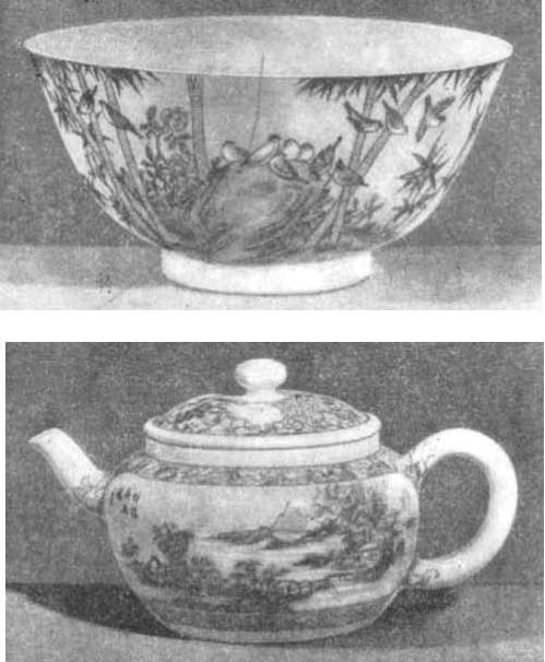 Китайский фарфор с росписью эмалевыми красками, сорт «яичная скорлупа». XVIII в.