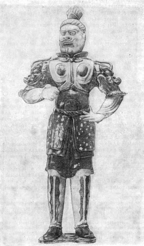 Страж света (буддийское божество) в костюме средневекового восточного рыцаря. Статуэтка из глины. Период Тан, VII—IX вв.