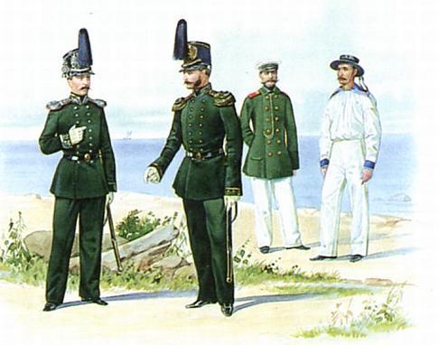 Унтер-офицер в пальто и матрос в судовой форме 1855