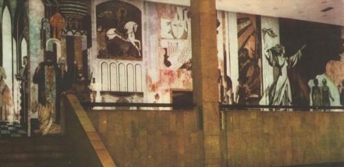 В. Замков. Культура, искусство, театр. Флорентийская мозаика. Общий вид. Фойе культурного центра олимпийской деревни в Москве. 1980.