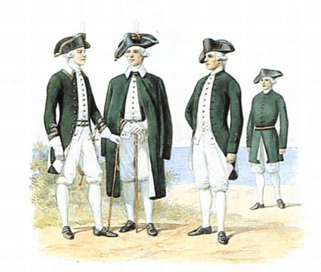 Форма одежды придворных гребцов и команд яхт. 1797