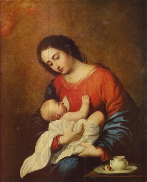 Франсиско де Сурбан Мадонна с младенцем 1658. Холст, масло. 1,01 х 0,78