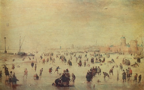 Хендрик Аверкамп 1585—1634 Картина Катание на коньках. Дерево, масло. 0,24 X 0,38