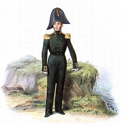 Штаб офицер гвардейского экипажа в винц-мундире. 1810-1811