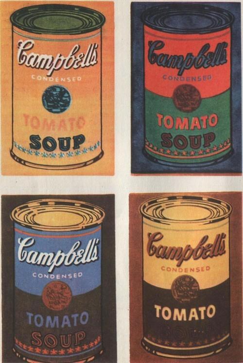 Э. Уорхол. 16 банок из-под супа. Фрагмент. 1962. Шелкотрафаретная печать и акриловые краски.