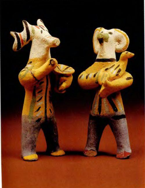 И.В. и Е.А. Дружинины. Лось со ступой, Баран с птицей. 1935