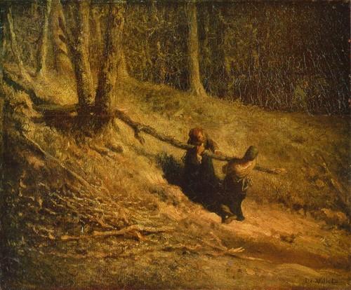 Жан-Франсуа Милле Картина Собирательница хвороста. Холст, масло. 0,37X0,45
