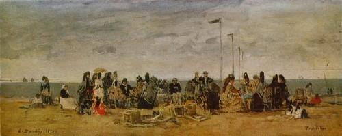 Эжен Буден Пляж в Трувиле. 1871 Дерево, масло. 0,19 х 1,46