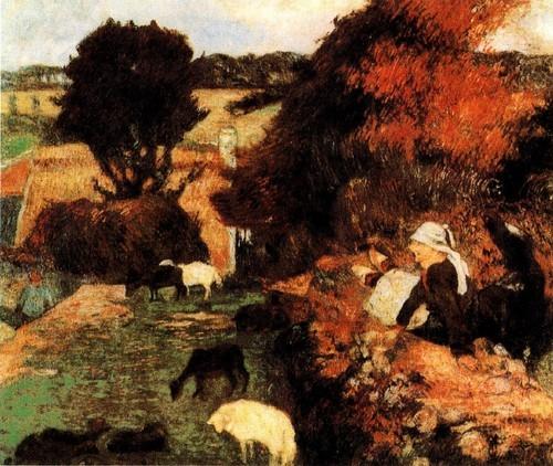 Сцены из жизни Бретани «Бретонская пастушка» 1886 Ньюкасл Художественная галерея