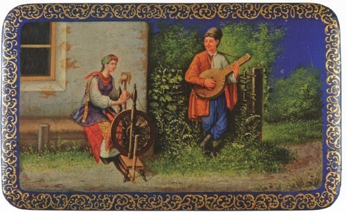 Коробочка Зима в Федоскин. 1968 М.С. Чижов. Федоскино. Московская область.