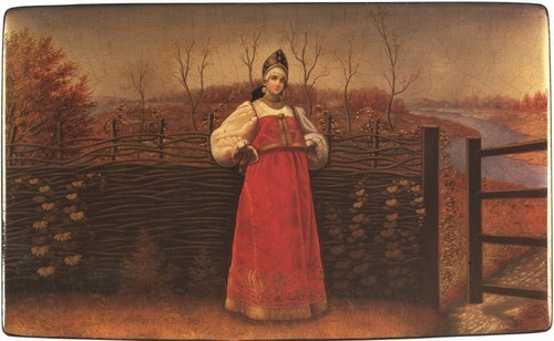 Шкатулка Боярышня у плетня. 1888-1894, Осташково, Московская губерния.