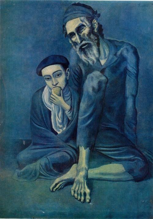 Пабло Пикассо и Руис Картина Старый нищий с мальчиком
