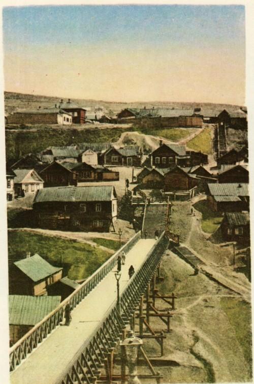 Узкий мост через Глебучев овраг, деревянный мост связывал большую Сергиевскую улицу с нагорной частью