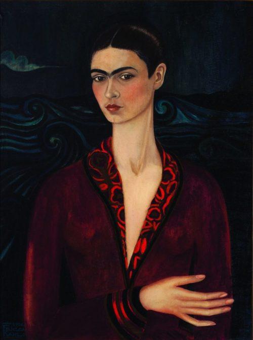 """Frida Kahlo. Painting """"Self-portrait in a velvet dress"""", 1926"""