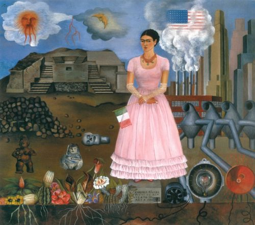 Фрида Кало. Картина «Автопортрет на границе Мексики и США», 1932 г.