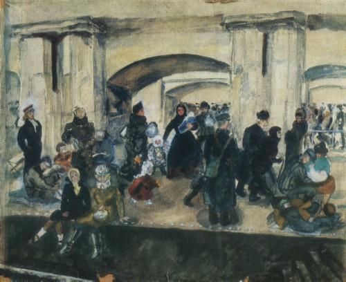 Н. Я. СИМОНОВИЧ-ЕФИМОВА. 1877—1948 Метро во время воздушной тревоги. 194