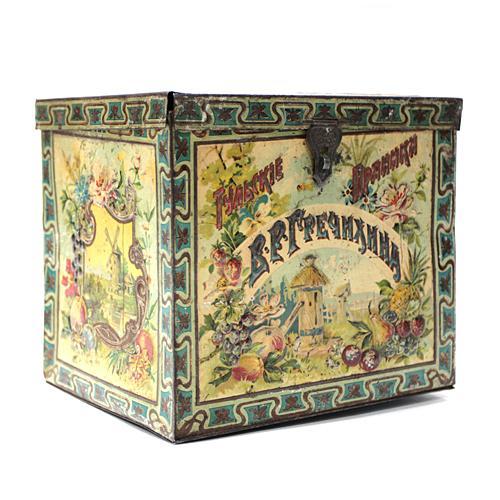 жестяная коробочка тульского кондитера гречихина для пряников